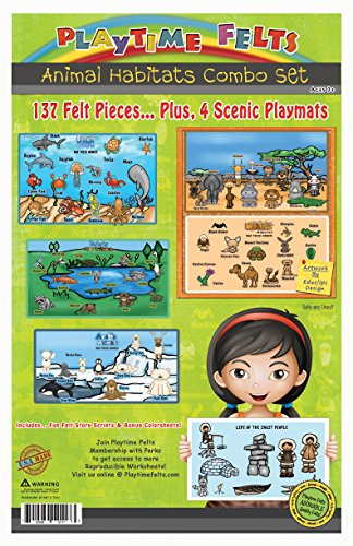 (Animal Habitat Flannel Board Stories for Toddlers - Includes Four Felt Scenic Backgrounds - Soft and Durable - Perfect for Story Time - Features 137 Felt Pieces in Five Habitat Preschool Themes)