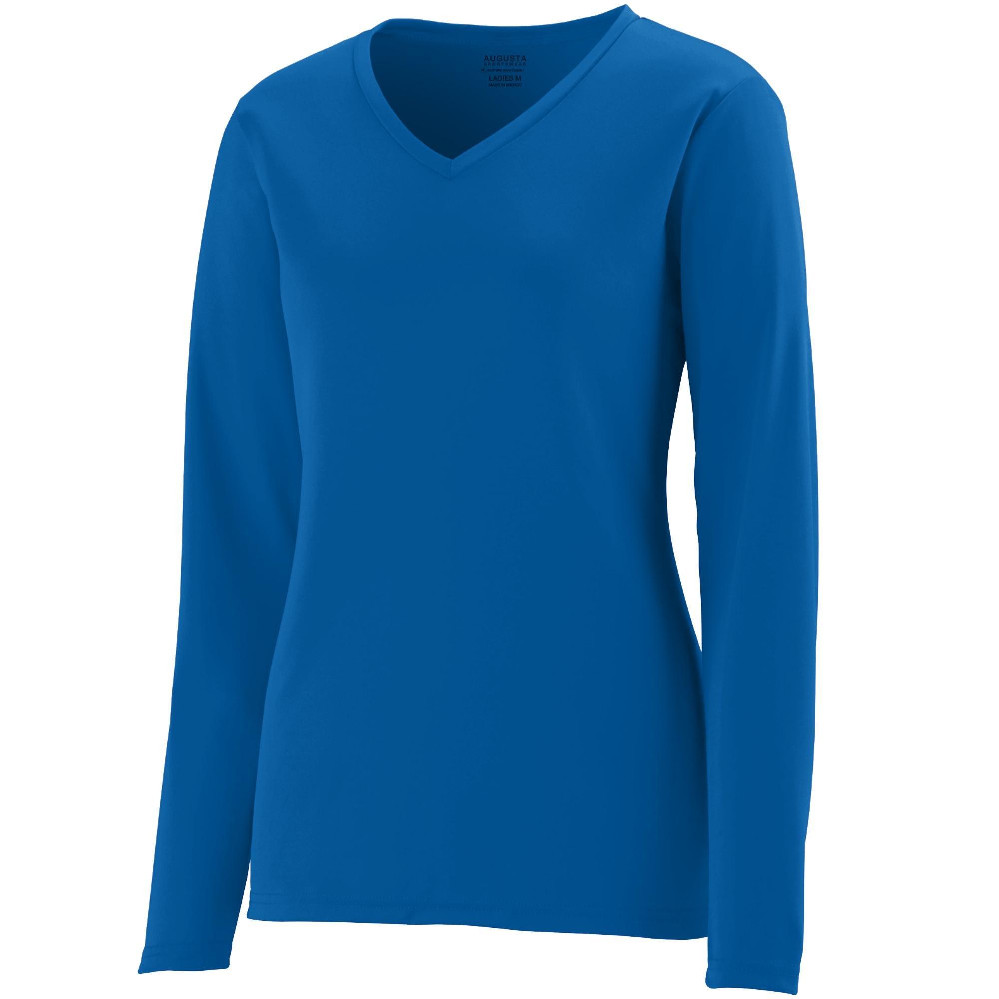 Augusta Sportswear Womens Long Sleeve Wicking T-Shirt, Royal, 3X-Large