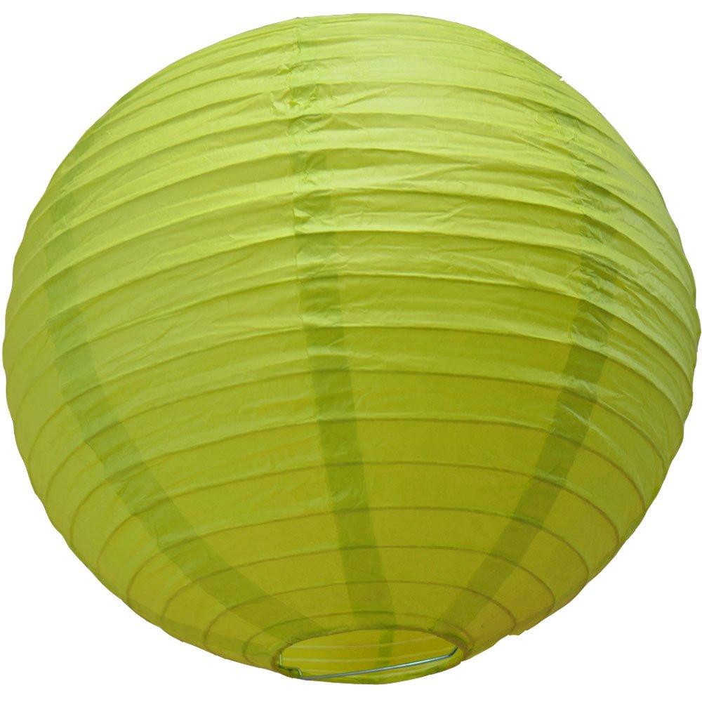 Quasimoon PaperLanternStorecom 8 Chartreuse Round Paper Lantern