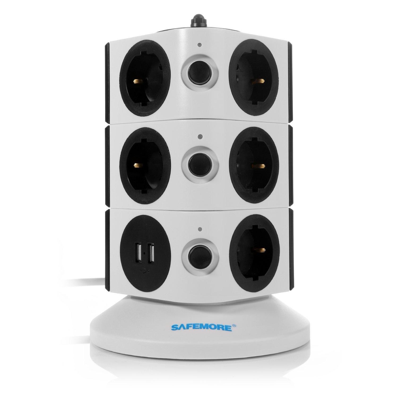 SAFEMORE Regleta de Enchufes Vertical de 11 Tomas Corrientes y 2 Rapida USB, Torre Ladron Alargador, Base Múltiple, Tapón de Seguridad product image