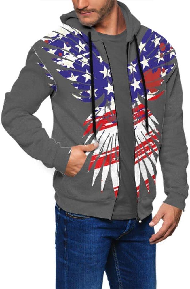 Long Sleeve Hoodie Print American Flag Eagle Graphic Design Jacket Zipper Coat Fashion Mens Sweatshirt Full-Zip S-3xl