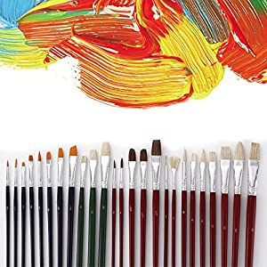 homEdge Acrylic Painting Brushes Set of 25 PCS, Nylon Painting Brush Pen Bulk with Round and Flat Head for Water Color, Acrylic, Canvas, Nail, Suitable for Artists, Kids, Classroom