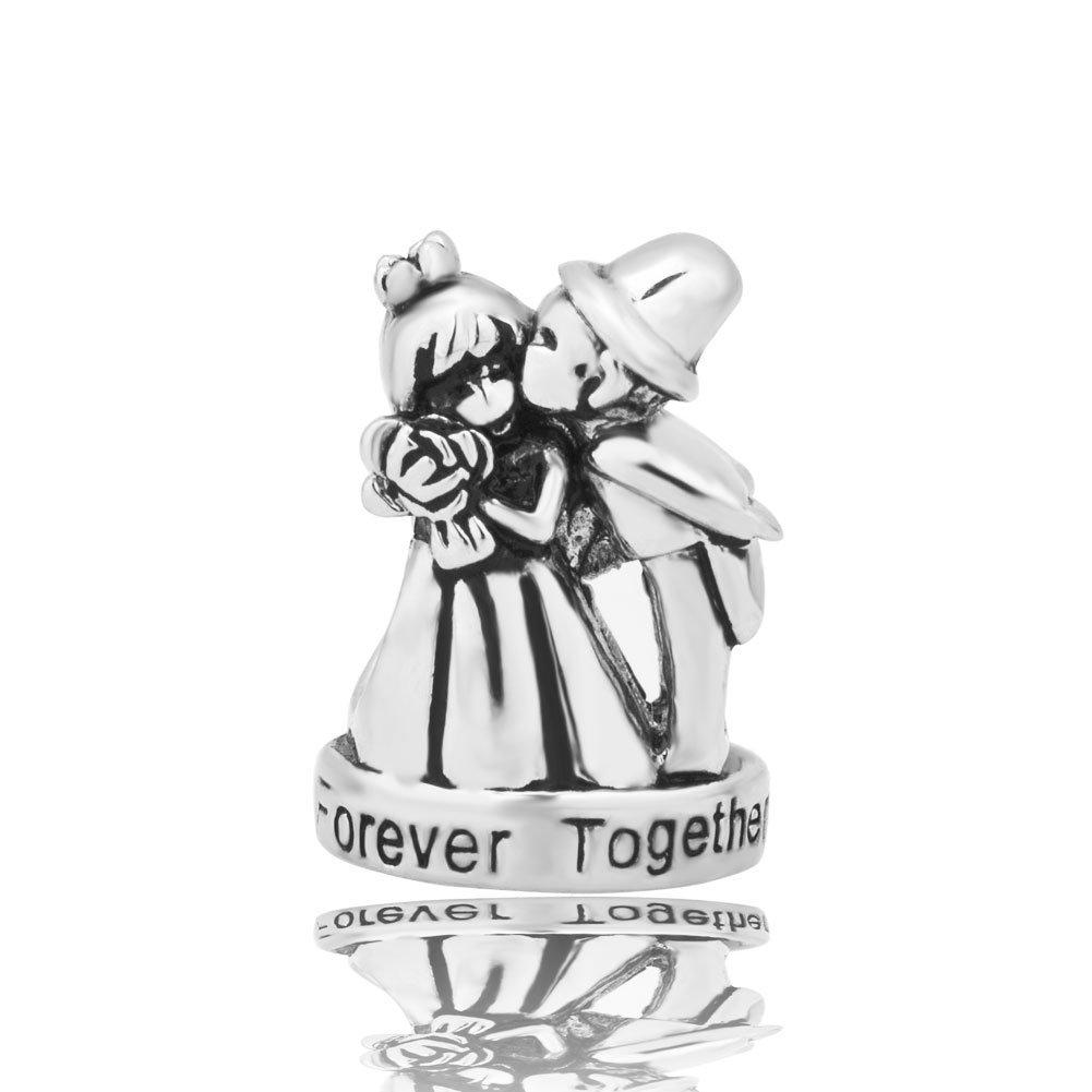 Sug Jasmin Bride & Groom Wedding Charms For Couples Forever Together Beads Fit European Bracelets