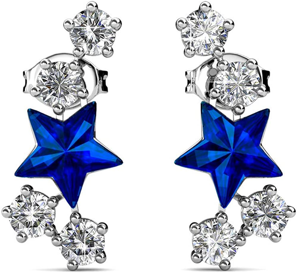 Womans Crawler Pin Star Earrings With CZ Gemstone Real Sterling Silver Boxed