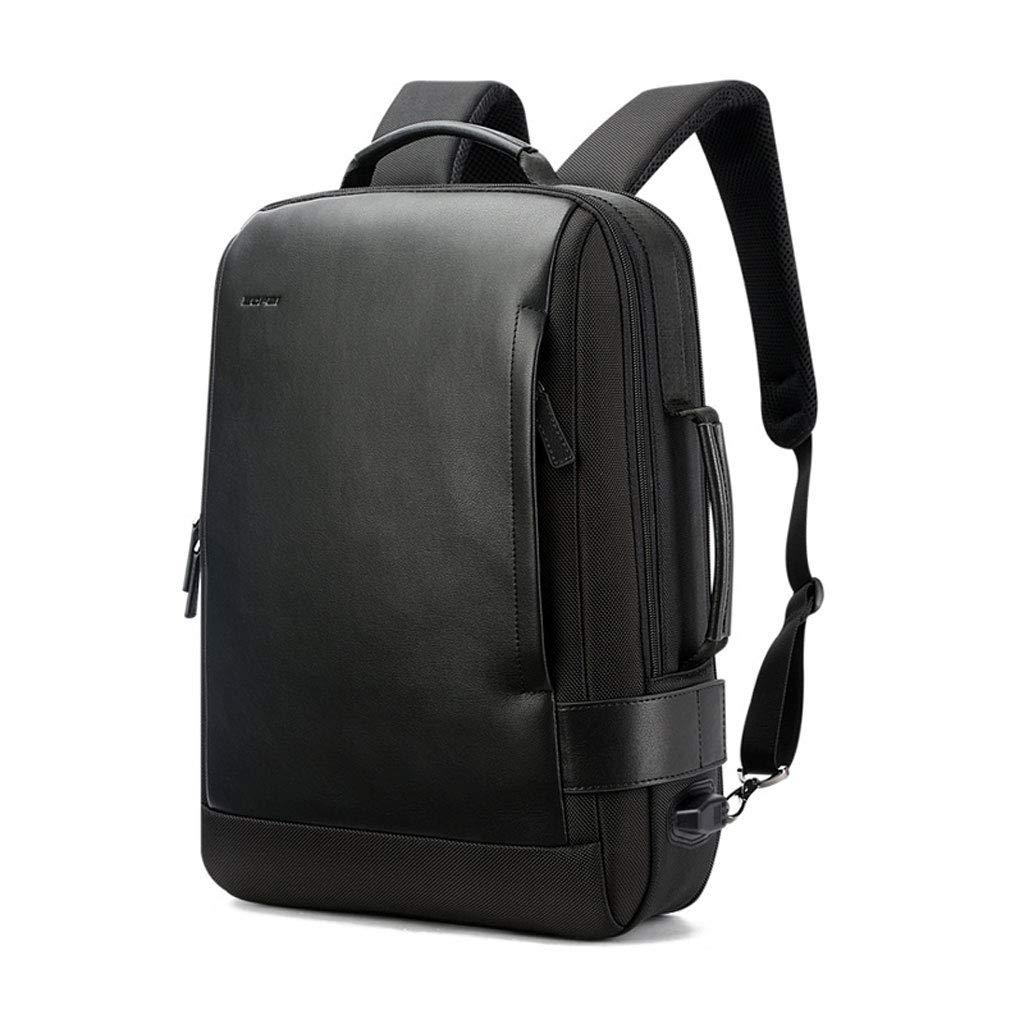 バックパック15インチラップトップビジネスバックパック付きラップトップコンパートメント防水シティバッグ軽量スクールリュックサック男性用ビジネスバックパック - ブラック (Color : ブラック, Size : M m)   B07K4L4RFD