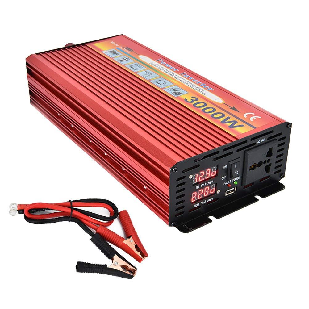 CAPTIANKN 3000W Automotive Power Inverter, DC 12V/24V to AC 110V / 220V Solar Converter with Display, 1 Universal Socket and 1 USB Port,12vto110v