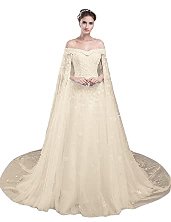 LMBRIDAL Womens Off Shoulder Long Prom Dress A Line Lace Wedding Gown Champagne 2