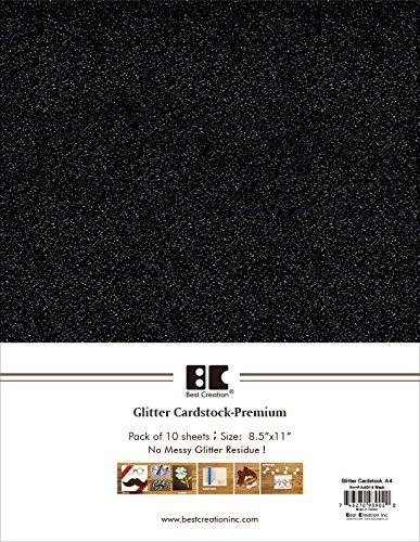 Best Creation A4 Glitter Cardstock, Black, 10 Piece