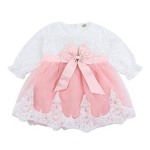 12c586e48 Amazon.com: Baby Girls Party Dress Lace Mesh Tutu Bow Princess Dresses  Clothes Outfits White: Clothing