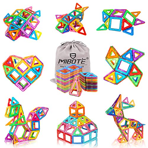 (MIBOTE 110 PCS Magnetic Building Blocks Educational STEM Toys Imagination Magnet Tiles Toddler Building Blocks Set for Kids - All of Them are Strong Magnets)