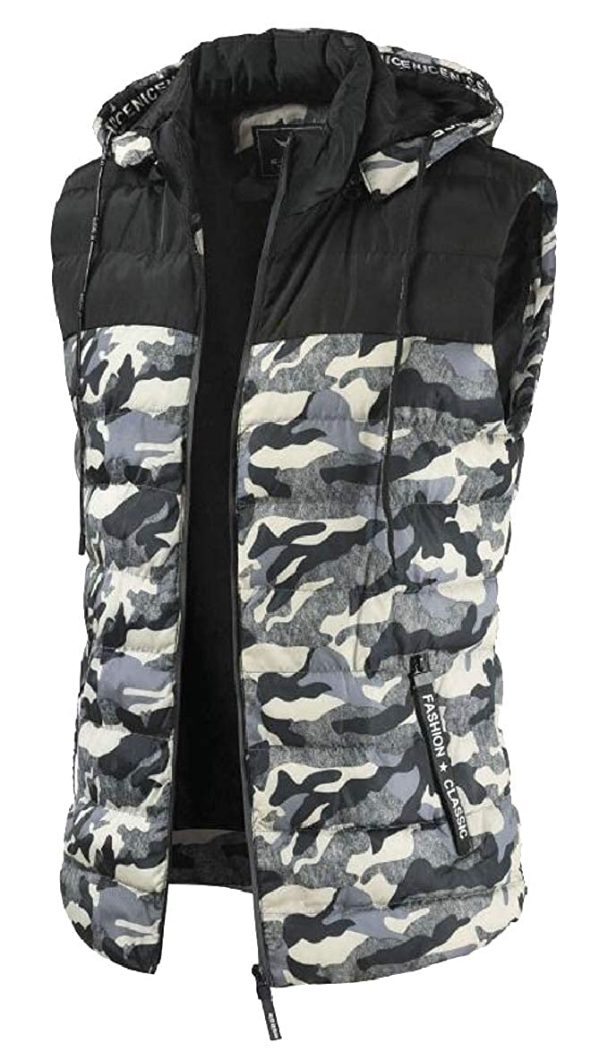 a8096389c 1 1 1 Tymhgt-CA Mens Hooded Thick Camouflage Quilted Sleeveless Down Vest  Jackets 2649aa