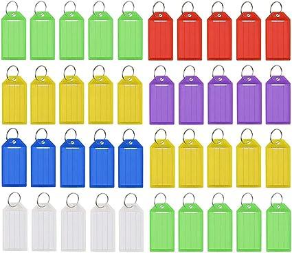 Gobesty Farbige Kunststoff Schlüsselanhänger 70 Stück Schlüsselanhänger Mit Schlüsselringen Verschiedene Farben Bürobedarf Schreibwaren