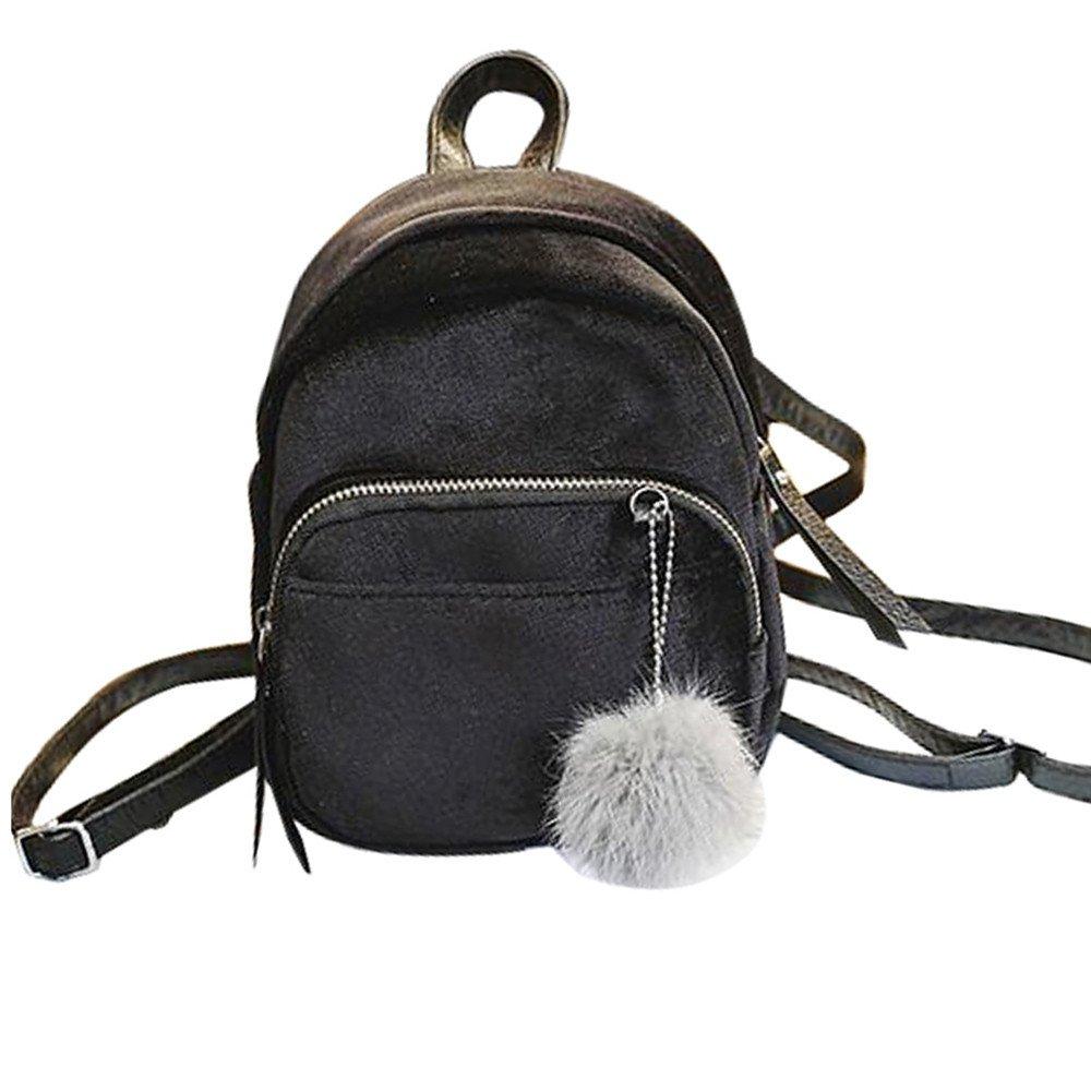 Naiflowers ファッション ユニセックス 女性 女の子 ミニ キュート ビューティー ベルベット ファー ボール バックパック ショルダーバッグ 無地 レディース ガールズ 旅行 学校 バッグ B07H5FLH8M ブラック