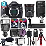Canon EOS 6D DSLR Camera + Canon EF 24-70mm 2.8L II USM Lens + Canon 75-300mm Lens + Battery Grip + Shotgun Microphone + LED Kit + 2yr Extended Warranty + 32GB Class 10 - International Version