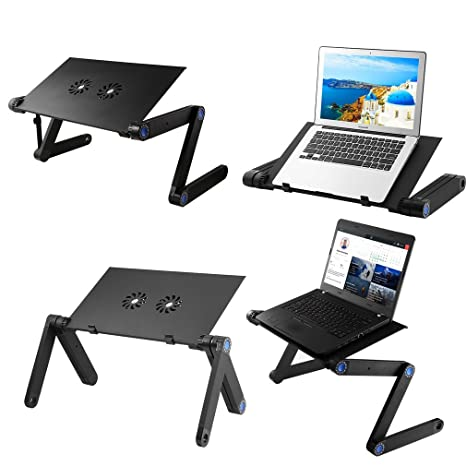 Mesas para ordenador, portátil y ajustable Escritorio de la computadora portátil se encuentra con una función de enfriador y alfombrilla de ratón en la cama ...