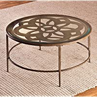 Round Bronze Coffee Table With Storage Area Side Table Décor Glass End Table Brown Cocktail Table Furniture Table