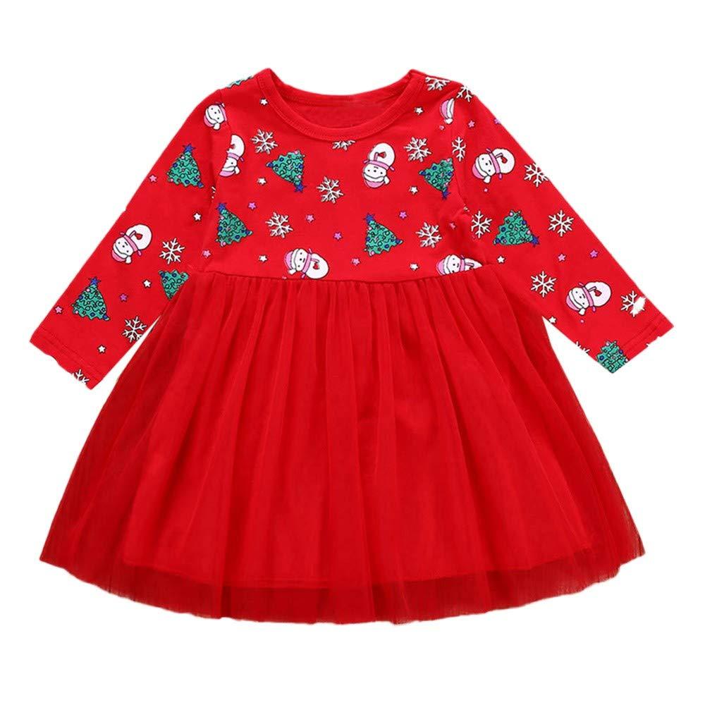 Ginli Fashion Vestito Bambina Natale Cappello di Babbo Natale Manica Lunga Festa 6-12 Anni