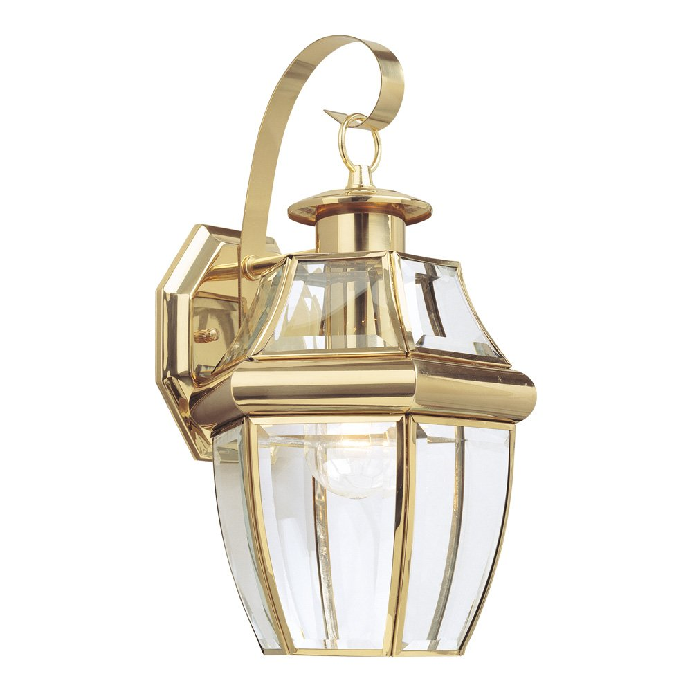 Sea Gull Lighting 8067-02 Lancaster One-Light Outdoor Wall Lantern with Clear Curved Beveled Glass Panels, Polished Brass Finish by Sea Gull Lighting