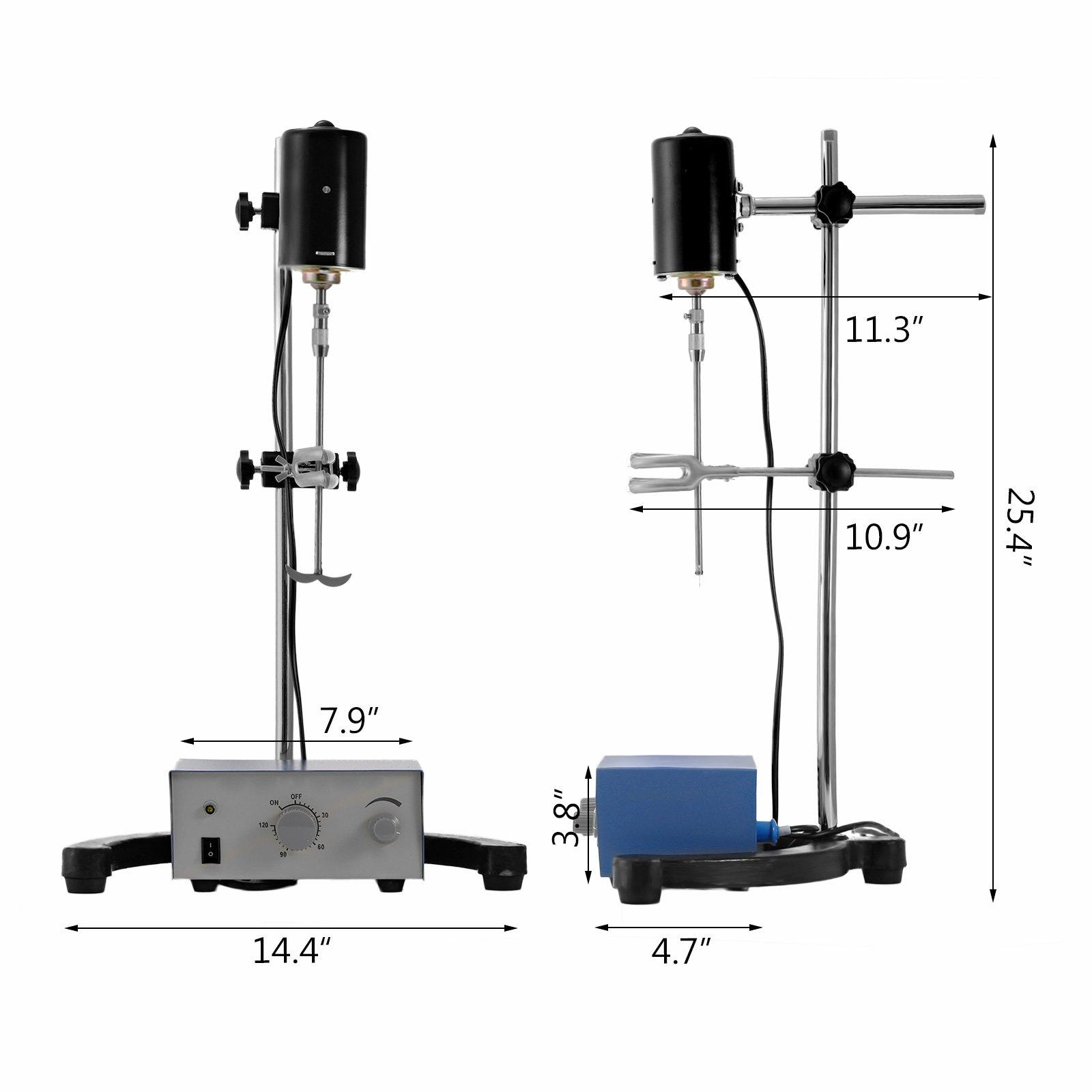 Mophorn Electric Overhead Stirrer Mixer 0-2000 RPM Overhead Stirrer Mixer 100W Lab Mixer Blender Variable Speed 0-120 Minutes Overhead Stirrer by Mophorn (Image #3)