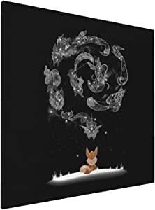 1007 Canvas Prints Wall Art Paintings(20x20in) Monster of The Pocket Starry Eeveelutions Pictures Home Office Decor Framed Posters & Prints