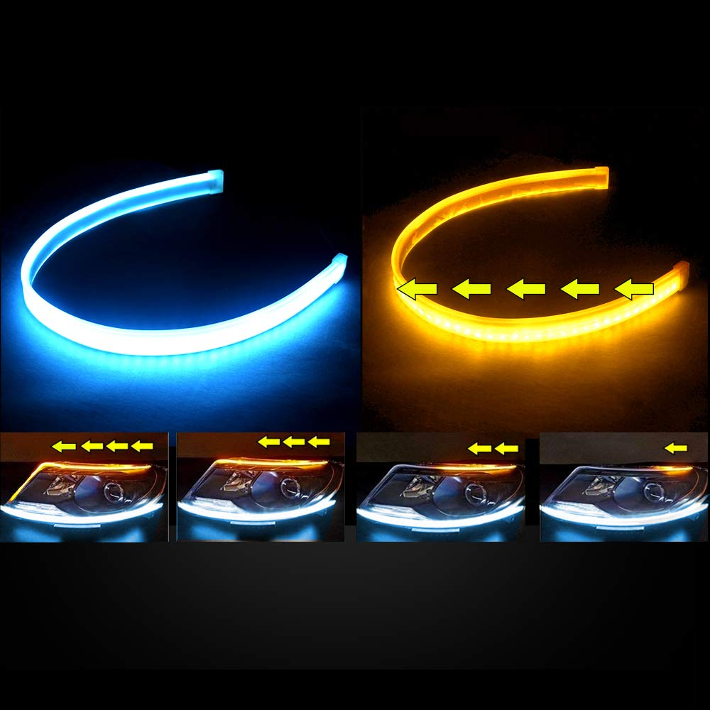 Waterproof Flexible Adhesive Daytime Running Lights DRL Switchback Glow Light Strip Headlight Decorative Lamp for Car 2PC 24 Inch Dual Color LED Headlight Strip Tube Blue//Sequence Amber