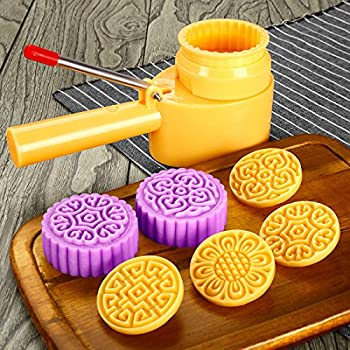 Cookie Stamps Moon Cake Mold with 4 Stamps, Cookie Press Mid Autumn Festival DIY Decoration Press, Cake Cutter Mold 75g-83g