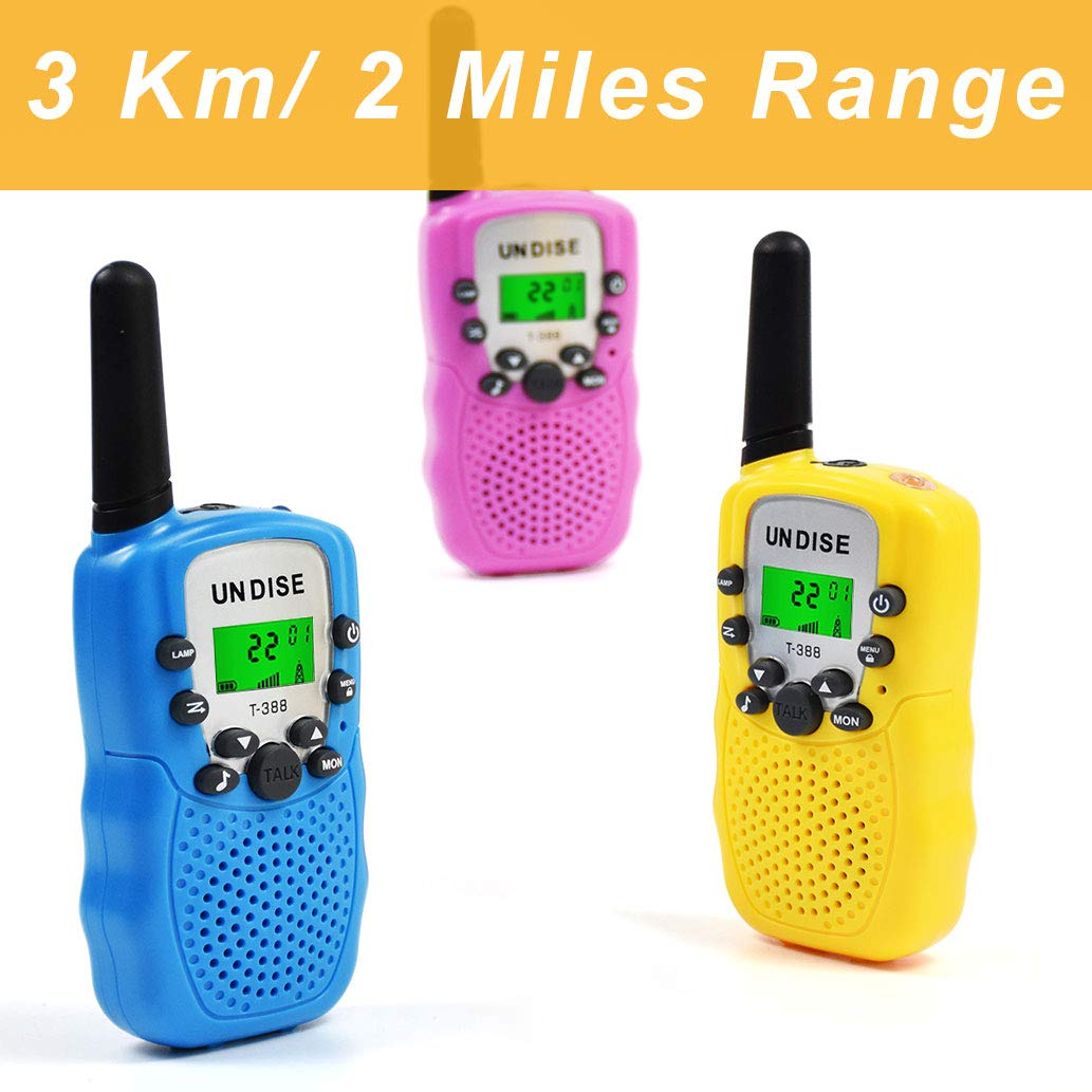 undise Walkie Talkies for Kids 3 Mile Range Mini 22 Channels 2 Way Radio Toy Kids Walkie Talkies with Flashlight for Outside Adventures, Camping, Hiking, 3 Packs by undise (Image #5)