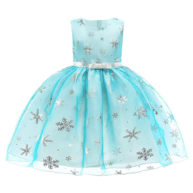 8478b0aa8 Saingace 2-7 Years Kids Baby Girl Snowflake Bow Princess Dress Bridesmaid  Pageant Birthday Gown