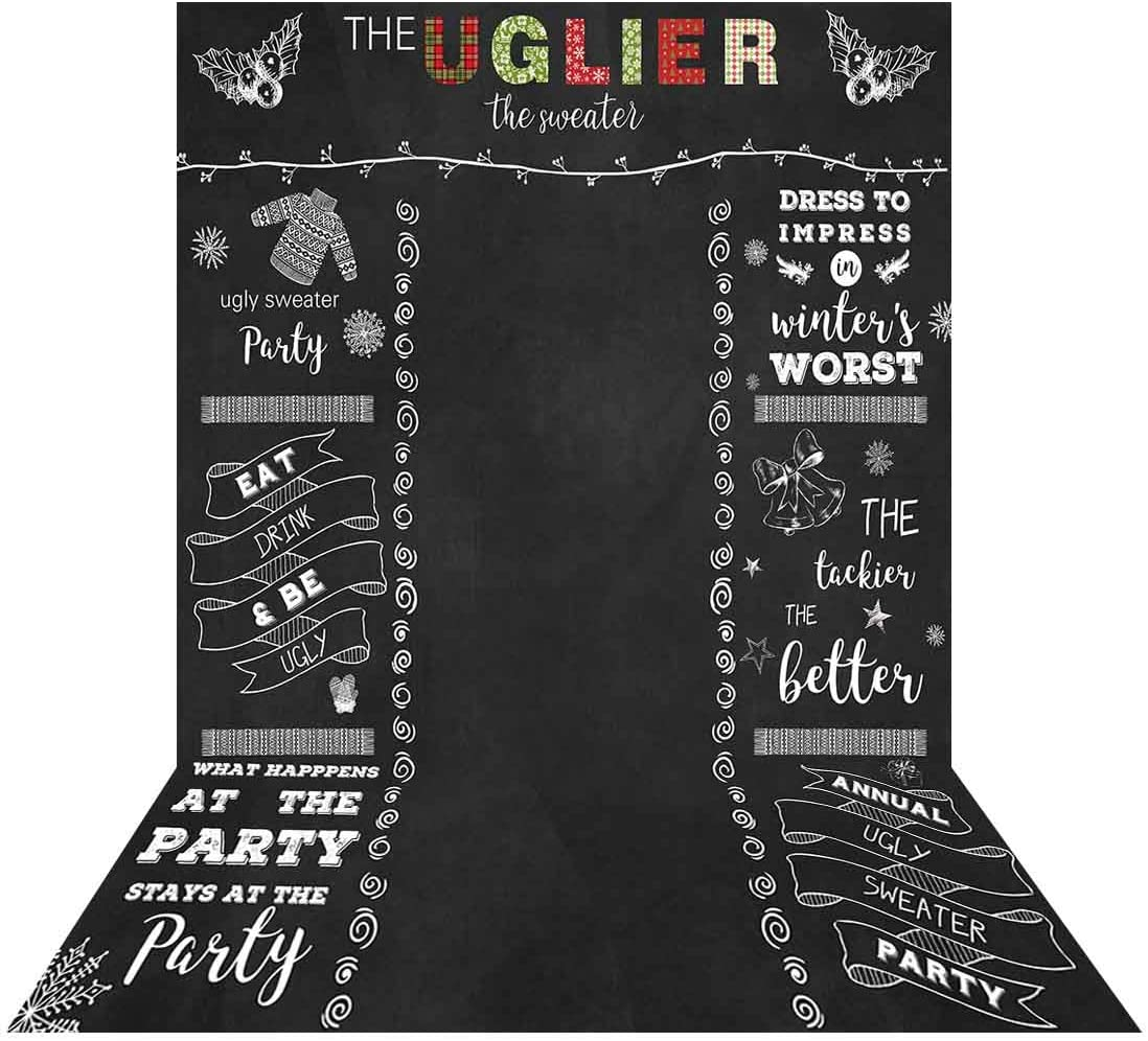 Allenjoy 5x7ft Ugly Sweater Backdrop Winter Tacky Holiday Party Chalkboard Photo Booth for Adults Celebration Festive Christmas Xmas Happy New Year Background Home Decor Photoshoot
