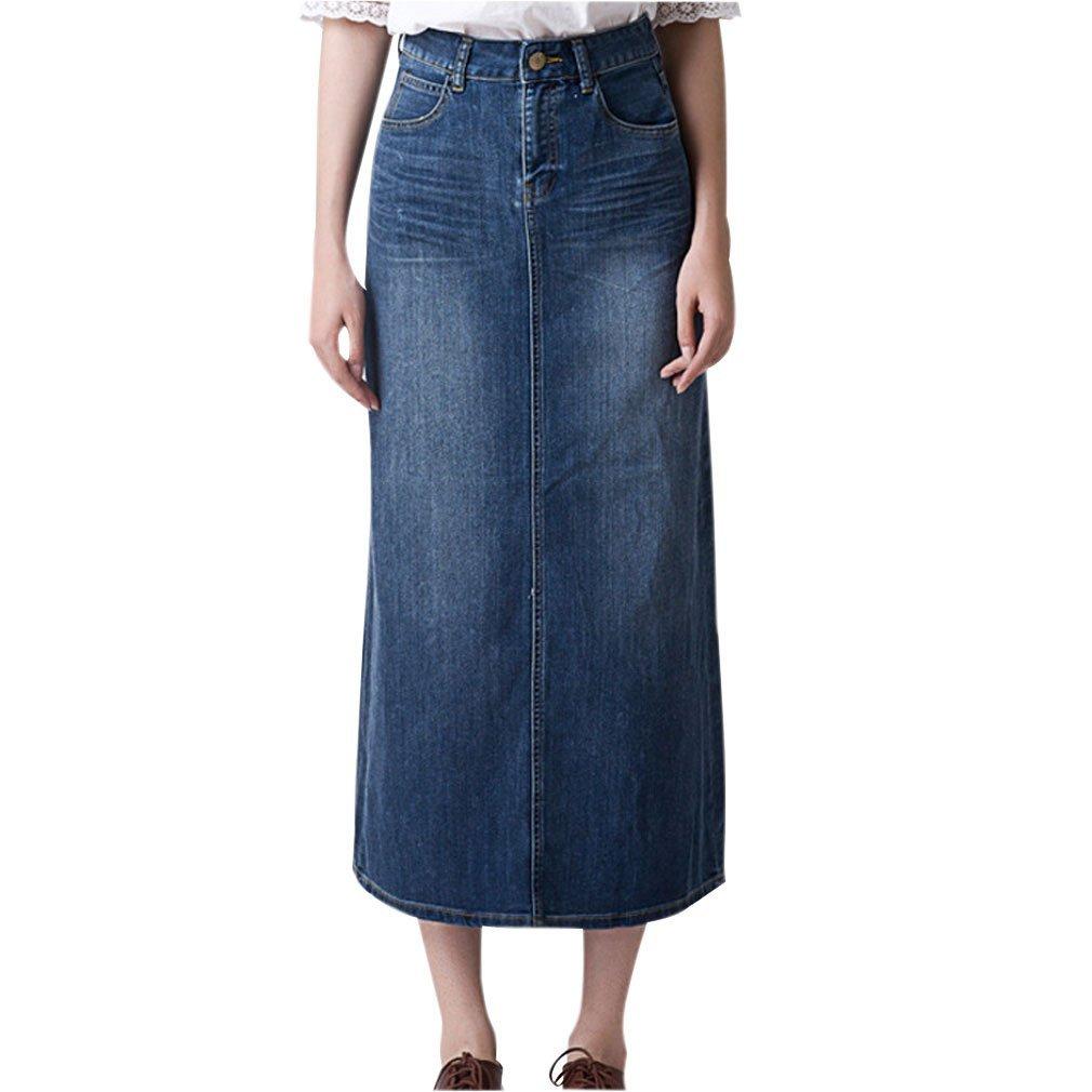 Gordon Q Women's Casual Plus Size High Waist Denim Skirt
