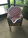 Crochet Striped Orange and Blue Bubble Baby Blanket
