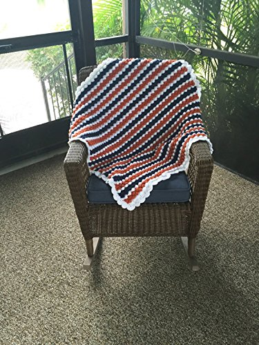 Crochet Striped Orange and Blue Bubble Baby Blanket by Penguin Yarns