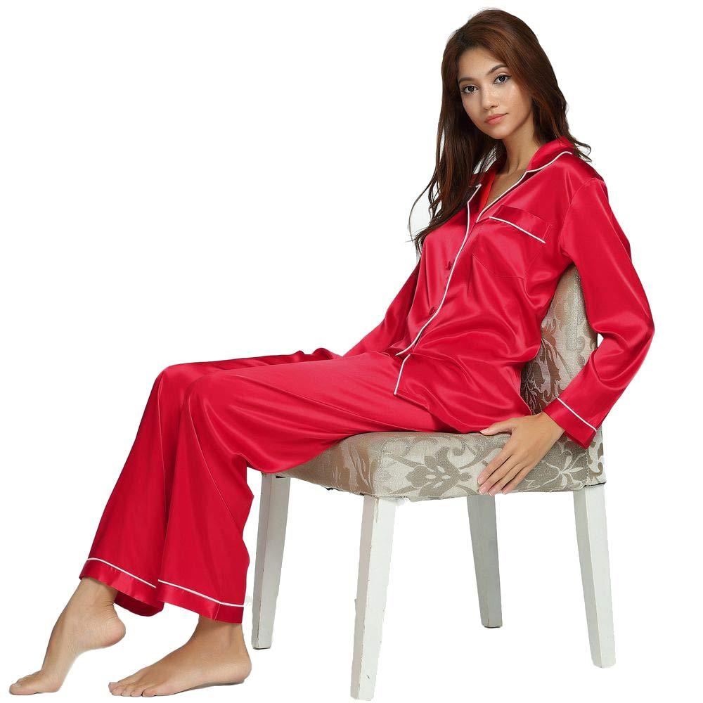 Damen Seide Pyjama Set Schlafanzug Sleepwear Homewear XS~3XL Plus-Größe W5901