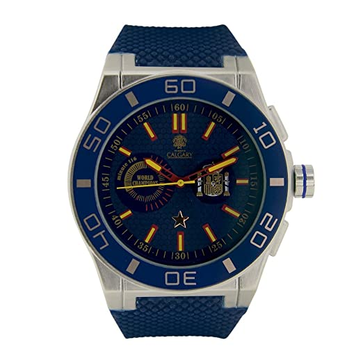 España World Champion Blue. Reloj Deportivo para Hombre, Correa de Caucho Azul, Esfera Color Azul. relojes calgary: Amazon.es: Relojes