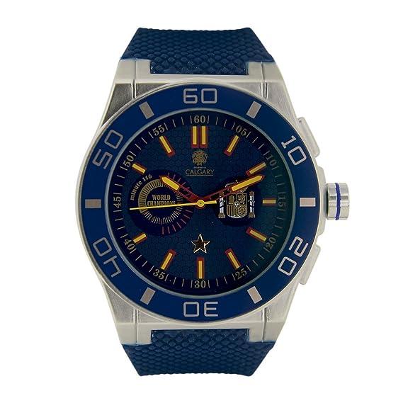 España World Champion Blue. Reloj Deportivo para Hombre, Correa de Caucho Azul, Esfera Color Azul. relojes calgary: Relojes Calgary: Amazon.es: Relojes