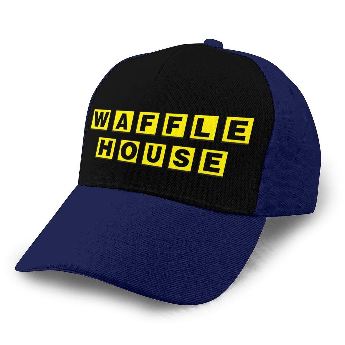 Adjustable Women Men Waffle-House-Logo Print Baseball Cap Flat Brim Cap Hats Hip Hop Snapback Sun Hat Boys Girls Navy by Apolonia