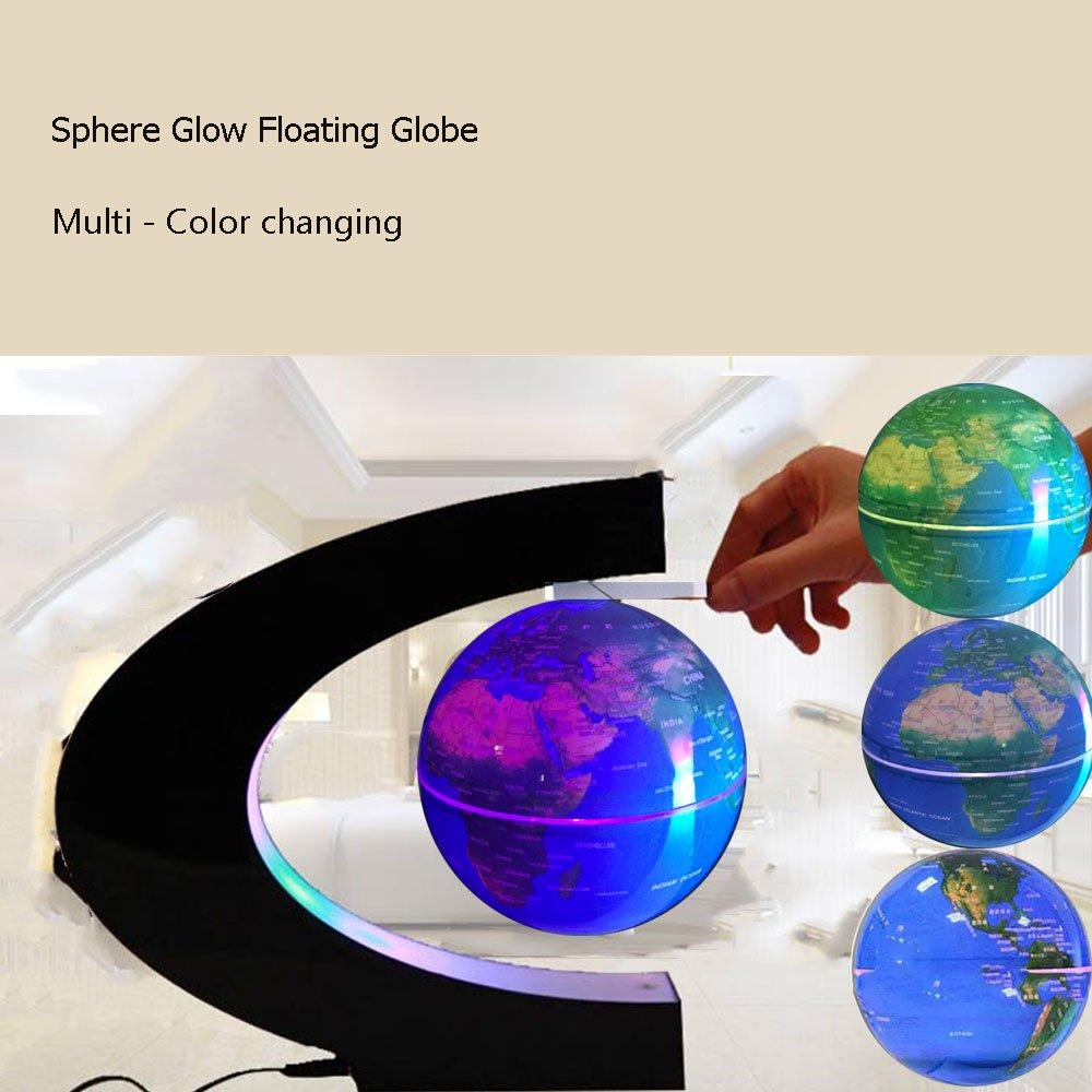 FUZADEL Multi-Color Changing Levitating Globe Magnetic Levitation Floating Globe World Map Educational Gifts for Kids Office Desk Decoration Ornament Teens Home