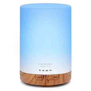 ASAKUKI 300ML Essential Oil Diffuser, Quiet 5-in-1 Premium Humidifier, Natural Home Fragrance Aroma Diffuser with 7 LED Color Changing Light and Auto-Off Safety Switch-Upgraded Version