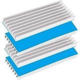 Tuloka ヒートシンク4個入り 70mm×22mm×6mm 導熱接着シート4pcs付き 熱暴走対策 冷却ラジエーターフィンCPU ICチップ 回路基板 LEDアンプに適用 アルミニウム シルバー