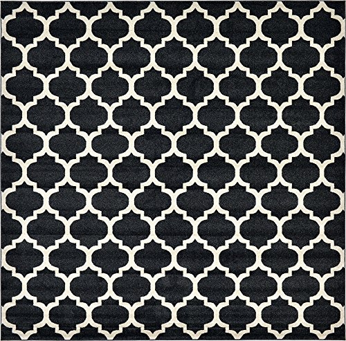 Unique Loom Trellis Collection Moroccan Lattice Black Square Rug (10' 0 x 10' 0) ()