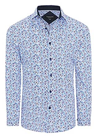 Tarocash Men's Deacon Slim Floral Shirt White Xs Slim Fit Long Sleeve Sizes XS-5XL for Going Out Smart Occasionwear
