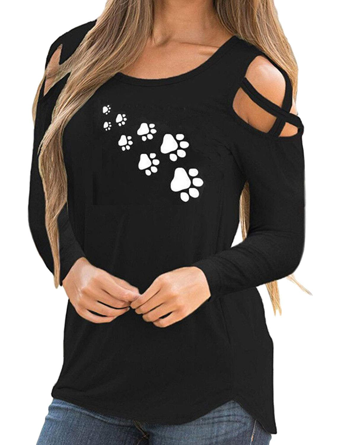 Nlife Women Graphic Print Round Neck Long Sleeve Blouse Criss Cross Cold Shoulder Solid Color Casual Tops Shirt