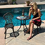 Belleze Outdoor Patio Aluminum Cast Frame Leaf Design Bistro Set in Antique Bronze