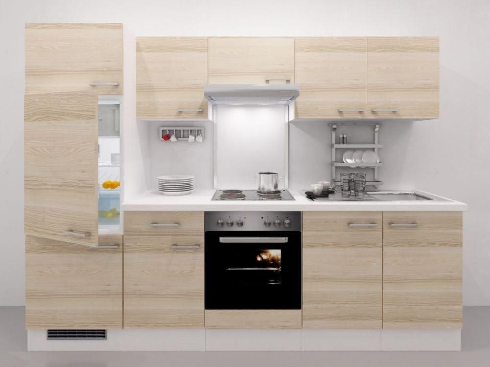 smartmoebel Cocina línea 270 Acacia Blanco con Horno y fogón ...