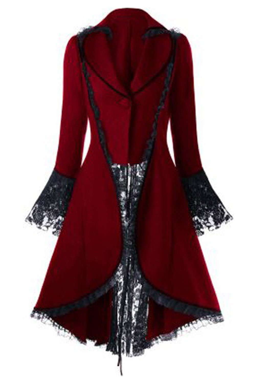 Sinastar Women's Steampunk Vintage Lace Splicing Tuxedo Lace up Gothic CoatTailcoat Red Black