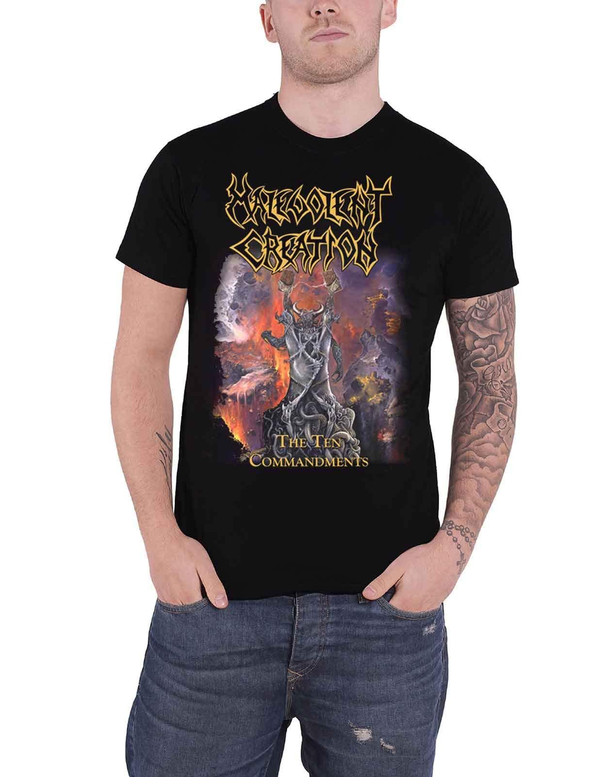 Malevolent Creation T Shirt The Ten Commandts Band Logo S Black