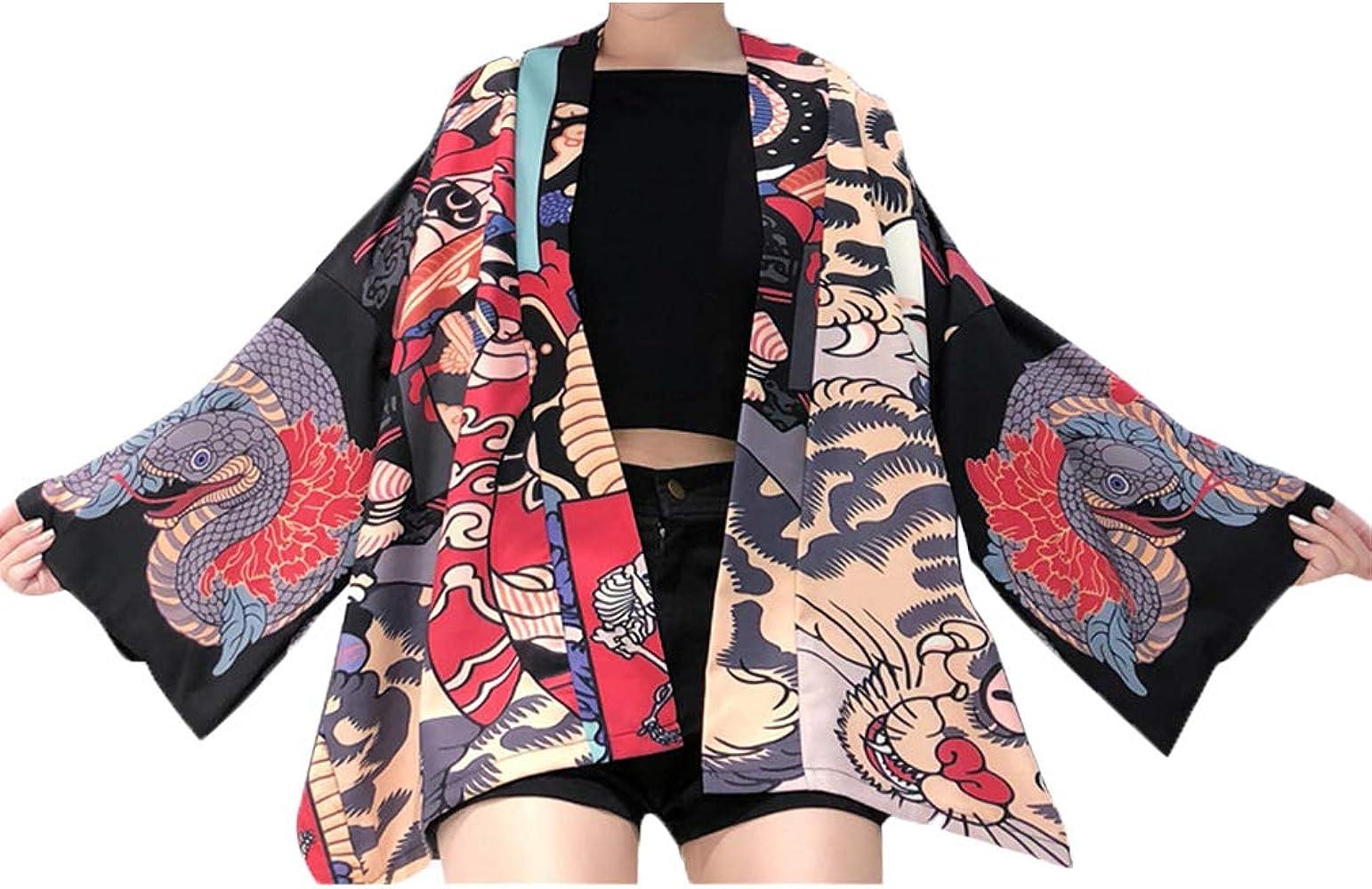 Dcola Harajuku - Camisa de Verano Japonesa con Mangas Vibrantes, Chaqueta Kimono para Hombre y Mujer Negro Talla única: Amazon.es: Ropa y accesorios