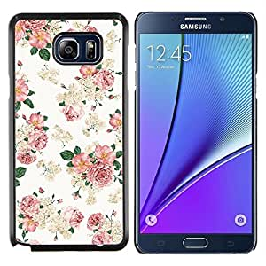 EJOOY---Cubierta de la caja de protección para la piel dura ** Samsung Galaxy Note 5 5th N9200 ** --Rosa floral del papel pintado retro blanco del estilo de la vendimia