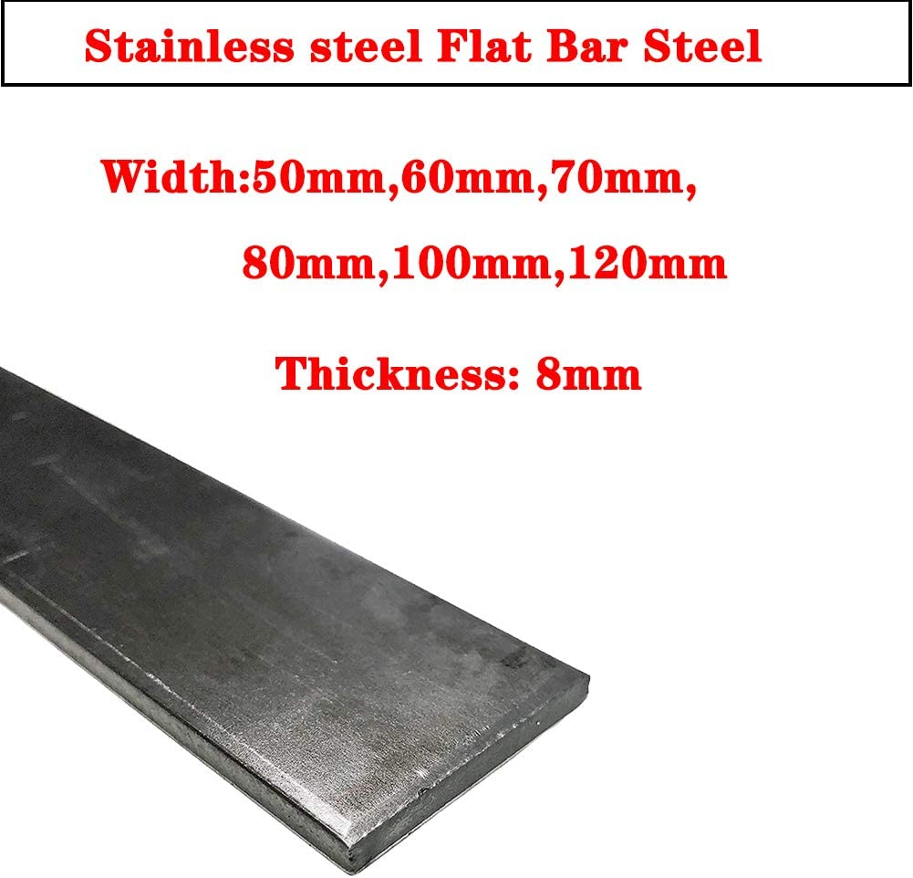Thick 8mm,304 General Purpose Plate,Mill Stock,Thick 8mm,Width 80mm AFexm 1Pcs Stainless Steel Flat Bar Steel Length 600mm