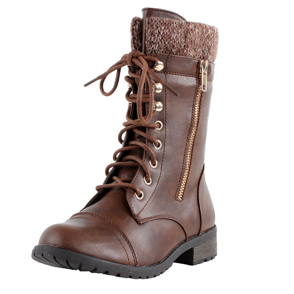 Forever Link Womens Mango-31 Round Toe Military Lace up Knit Ankle Cuff Low Heel Combat Boots Brown 9